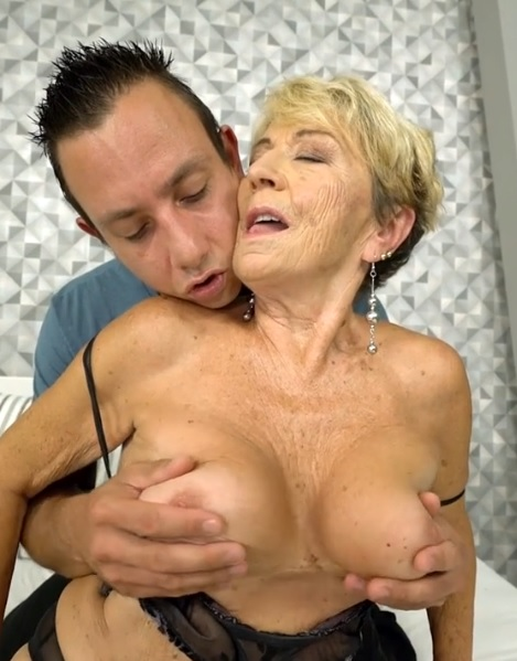 Naughty granny Malya gets her hairy pussy banged by hard young cock