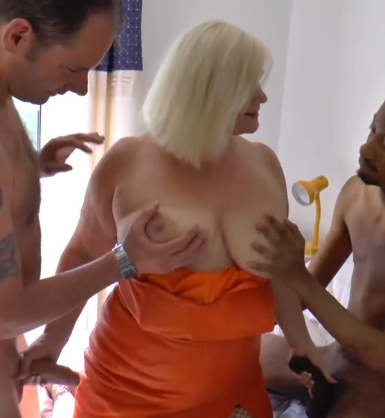 Busty older mature blonde BBW Lacey getting fucked two two young cocks
