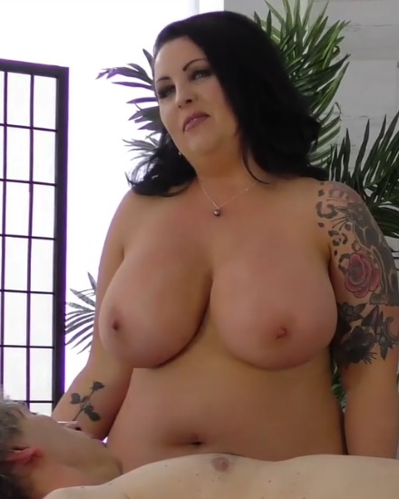 BBW brunette diva with thick curves and giant boobs gets titty fucked