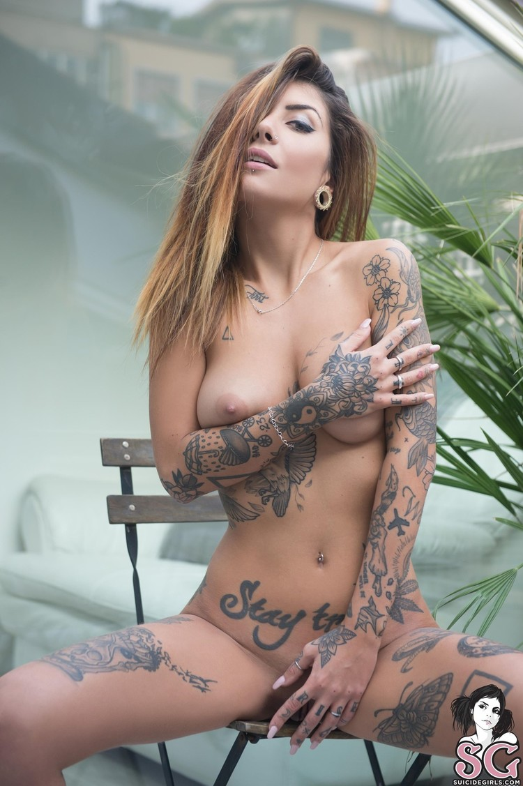 Hot tattoo women with big tits and nude