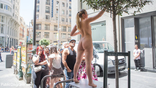 PUBLIC DISGRACE: November 13, 2017 – Perky Blonde Selvaggia Fully Nude in Public Gets Anal Fisted & DP'd