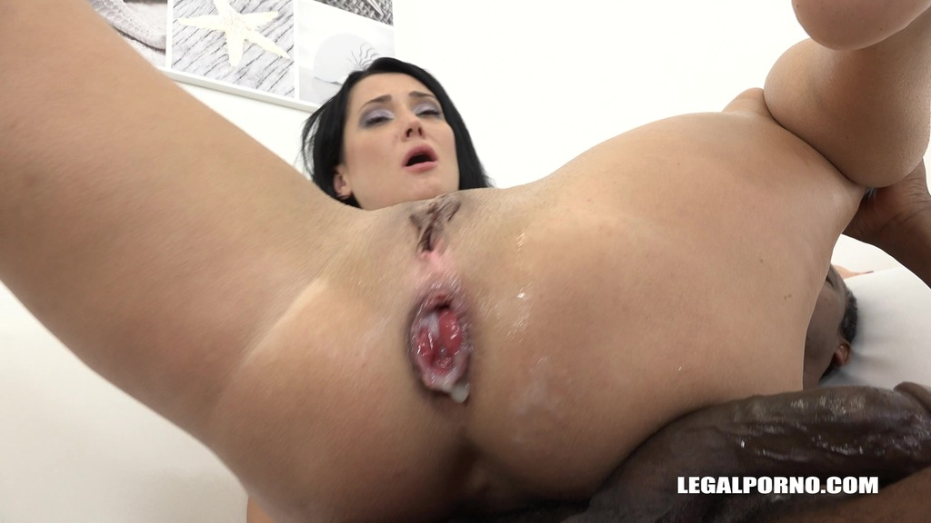 LegalPorno - Interracial Vision - Angie Moon is back to test two black cocks in the ass IV108