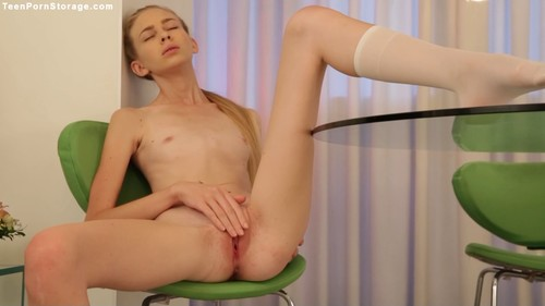 Very skinny young girl. Solo. Shaved pussy, small pussy.